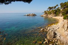 Costa Brava Rocky Coast. View on a beautiful Mediterranean bay at the Spanish Costa Brava in the Catalonia region close to Barcelona Stock Photo