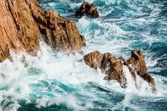 Costa Brava rough sea Royalty Free Stock Image
