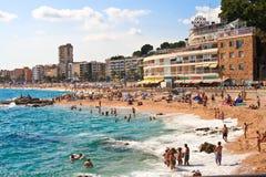 COSTA BRAVA, SPAIN, 2012:  Loret de Mar beach Stock Photos