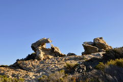 Costa Brava - stone formation. Stone formation in the late afternoon. It can be found in Eastern Spain close to the coast - Costa Brava Stock Photos