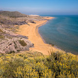 Unspoiled Calblanque Beach in Spain. Beach and coastline in Calblanque Regional Park and Nature Reserve on the Costa Calida.  Cartagena, Spain Stock Photography