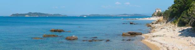 Costa Chalcidice, Grecia del villaggio di Ouranoupoli Fotografia Stock