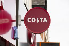 Costa coffee shop sign - Scunthorpe, Lincolnshire, United Kingdo. M - 23rd January 2018 Royalty Free Stock Photo