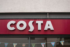 Costa Coffee Store Front Shop Sign royalty free stock photo