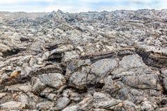 Costa con las piedras del flujo volcánico Foto de archivo