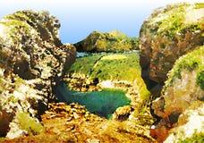 Costa con las rocas, la cala y las montañas ilustración del vector