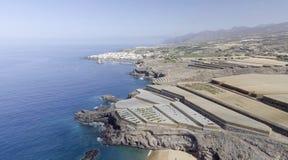 Costa con le coltivazioni della banana, Spagna di Tenerife Immagine Stock