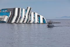 Costa Concordia Cruise Ship after Shipwreck Stock Image