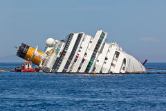 Costa Concordia Cruise Ship after Shipwreck Stock Photography