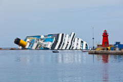 Costa Concordia Cruise Ship after Shipwreck Stock Images