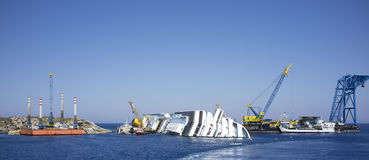 Costa concordia dismantlement shipyard Royalty Free Stock Photo