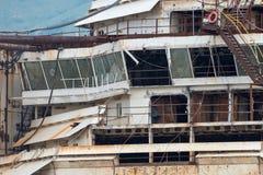 Costa Concordia haveri i Genoa Harbor Arkivbilder