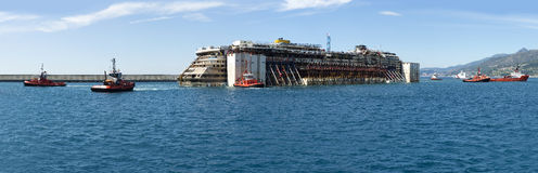 Costa Concordia. An image of the cruise ship Costa Concordia as it enters the port of Genoa to be dismantled. 27 July 2014 Stock Photos