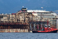 Costa Concordia, sea voyage and arrival at the port of Genoa Voltri Stock Photo