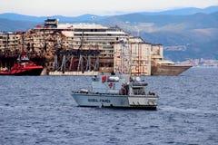 Costa Concordia, sea voyage and arrival at the port of Genoa Voltri stock image