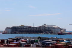 Costa Concordia, sea voyage and arrival at the port of Genoa Voltri stock photography