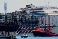 Costa Concordia, sea voyage and arrival at the port of Genoa Voltri royalty free stock photos