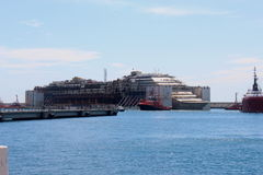 Costa Concordia, sea voyage and arrival at the port of Genoa Voltri Stock Image