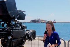 Costa Concordia, sea voyage and arrival at the port of Genoa Voltri stock photos