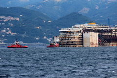 Costa Concordia, sea voyage and arrival at the port of Genoa Voltri Royalty Free Stock Photo