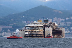 Costa Concordia, sea voyage and arrival at the port of Genoa Voltri royalty free stock image
