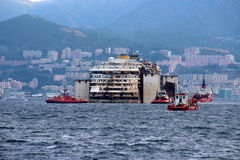 Costa Concordia, sea voyage and arrival at the port of Genoa Voltri Royalty Free Stock Images