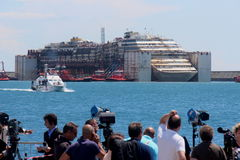 Costa Concordia, sea voyage and arrival at the port of Genoa Voltri Stock Images