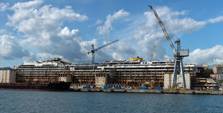 Costa Concordia wreck in Genoa Harbor Stock Photography