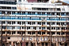 Costa Concordia wreck in Genoa Harbor Stock Images