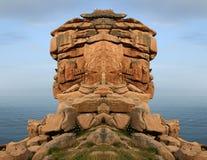 A costa cor-de-rosa do granito em Bretagne Imagens de Stock