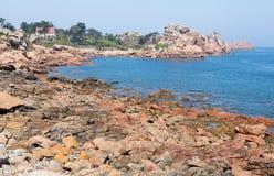 Costa cor-de-rosa do granito em Brittany Fotografia de Stock Royalty Free