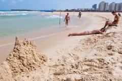 Costa costa del mar Mediterráneo de Israel Foto de archivo