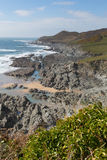 Costa costa del norte rugosa Woolacombe Inglaterra Reino Unido de Devon Imágenes de archivo libres de regalías