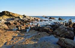 Costa costa rocosa durante la bajamar debajo del parque en Laguna Beach, California de Heisler Imagen de archivo