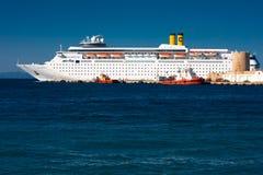 Costa Cruise ship. Cruise Romantica of Costa Crociere in a port of Greece (Rodi) - July 2011 Stock Photos