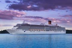 Cruise ship. Italian cruise ship Costa Luminosa is leaving Stockholm, Sweden via its archipelago. Costa Luminosa is part of the Costa Fleet, the same fleet in Stock Photo