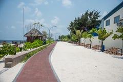 A costa da cidade do homem maldives férias Areia branca Fotos de Stock