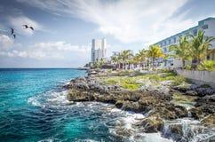 Costa da ilha de Cozumel imagens de stock