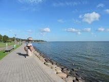 Costa da lagoa de Curonian, Lituânia Fotografia de Stock Royalty Free