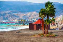 Costa de Almeria, Spain beach with kitesurfing Royalty Free Stock Images