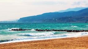 Costa de Almeria, spiaggia della Spagna con kitesurfing Immagini Stock