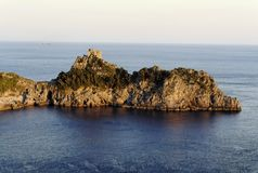Costa de Amalfi - península en la puesta del sol Fotos de archivo libres de regalías