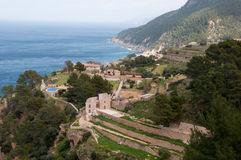 Costa de Banyalbufar, Majorca, España imagenes de archivo