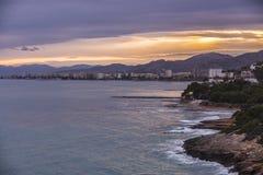 Costa de Benicassim de la colina fotos de archivo libres de regalías
