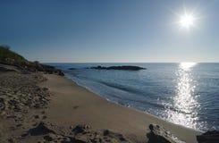 Costa de Bravone en la isla de Córcega fotografía de archivo
