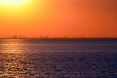 Costa de Buenos Aires. Vista de la costa de Buenos Aires, Argentina, desde la ciudad de Colonia, Uruguay. Atardecer. View of the coast of Buenos Aires, Argentina Stock Image