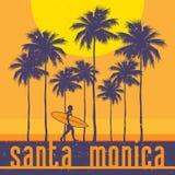 Costa de California, playa de Santa Monica, cartel de la persona que practica surf libre illustration