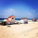 Costa de Caparica, Lisbon Portugal. Beach houses on the Costa de Caparica, Lisbon Portugal stock photography
