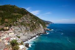 Costa de Cinque Terre em Liguria, Itália Imagem de Stock