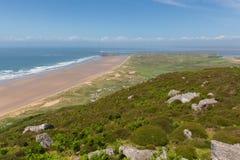 Costa de Galês a opinião de Gower de Rhossili para baixo Gales no verão Imagens de Stock Royalty Free